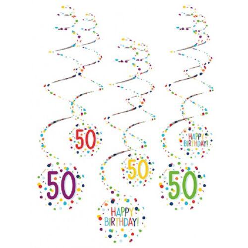 Amscan spiraalslingers 50 Confetti Birthday 61 cm papier 6 stuks - Wit,Multicolor