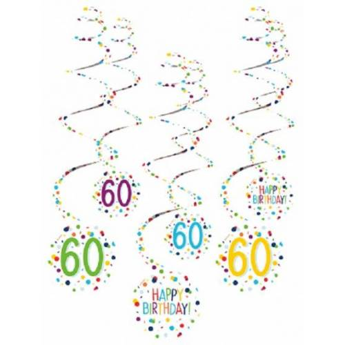 Amscan spiraalslingers 60 Confetti Birthday 61 cm papier 6 stuks - Wit,Multicolor