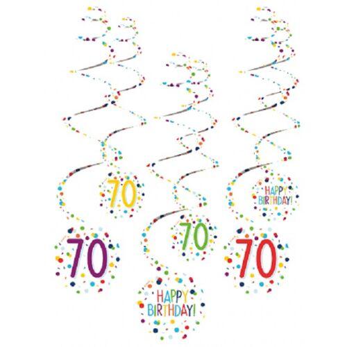 Amscan spiraalslingers 70 Confetti Birthday 61 cm papier 6 stuks - Wit,Multicolor