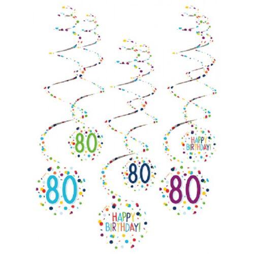 Amscan spiraalslingers 80 Confetti Birthday 61 cm papier 6 stuks - Wit,Multicolor