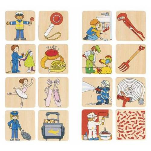 Goki memory Beroepen junior 5 x 5 cm hout 16 delig - Multicolor