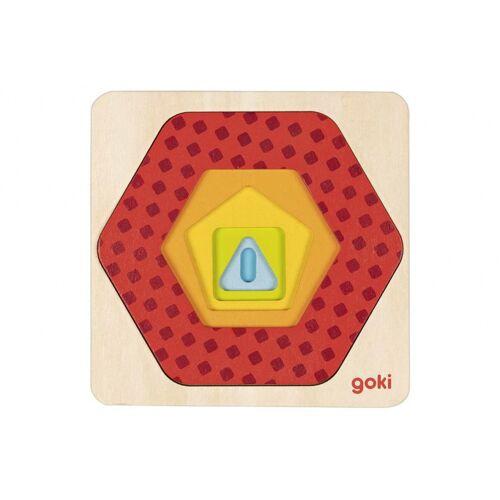 Goki vormenpuzzel Geometrie junior 12 x 12 cm hout 5 delig - Multicolor