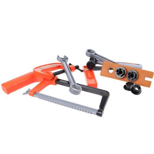 Jonotoys gereedschapsset metaalzaag oranje/grijs 11 delig - Oranje,Grijs