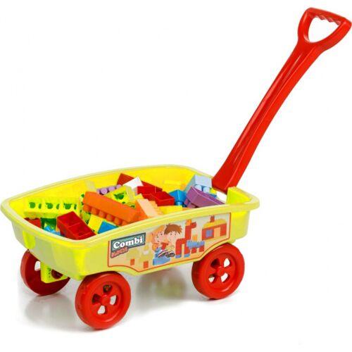 Paradiso Toys blokkenwagen 69 cm geel 50 delig - Geel