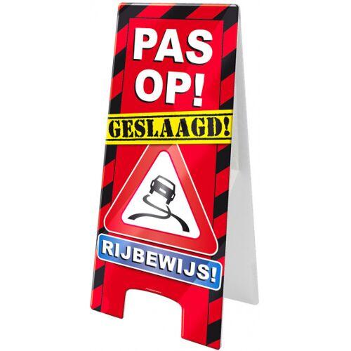Paper Dreams waarschuwingsbord rijbewijs 58 x 26 cm karton - Rood