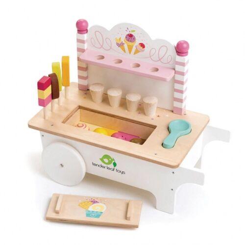Tender Toys ijskarretje met ijs hout junior 15 delig - Multicolor