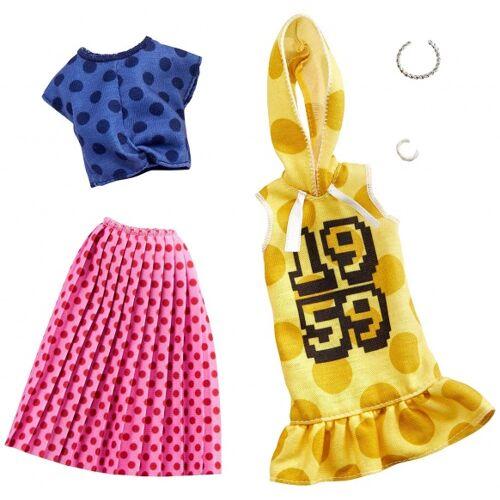 Barbie kledingset tienerpop rok en jurkje stippen 2 delig - Multicolor
