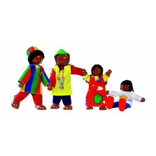 Goki Houten Buigpopjes Set Afrikaanse Familie 9 11cm - Multicolor