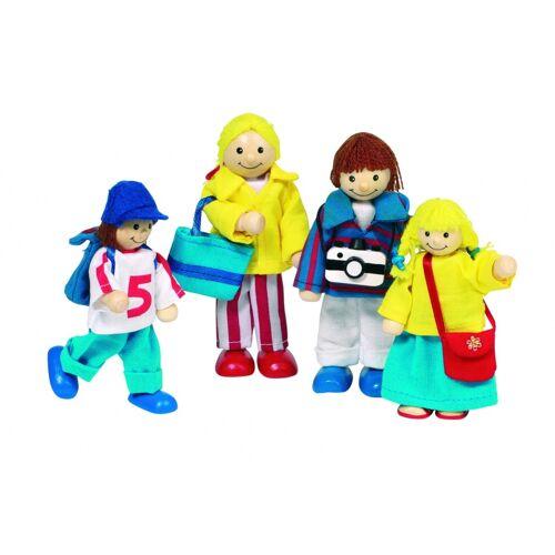 Goki Houten Buigpopjes Set Familie Op Vakantie 9 10,5CM - Multicolor