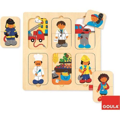 Goula vormenpuzzel Beroepen hout junior 12 stukjes - Multicolor
