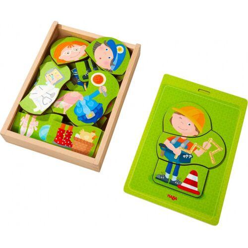 Haba vormenpuzzel Beroepen junior hout 24 stukjes - Multicolor