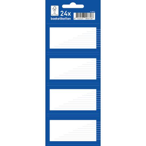 Kangaro boeketiketten junior papier blauw/wit 7,5 x 5 cm 24 stuks - Wit,Blauw