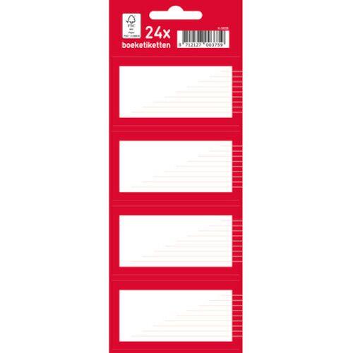 Kangaro boeketiketten junior papier rood/wit 7,5 x 5 cm 24 stuks - Wit,Rood