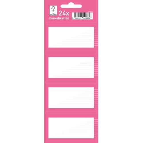 Kangaro boeketiketten junior papier roze/wit 7,5 x 5 cm 24 stuks - Wit,Roze