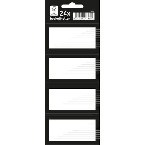 Kangaro boeketiketten junior papier zwart/wit 7,5 x 5 cm 24 stuks - Zwart,Wit