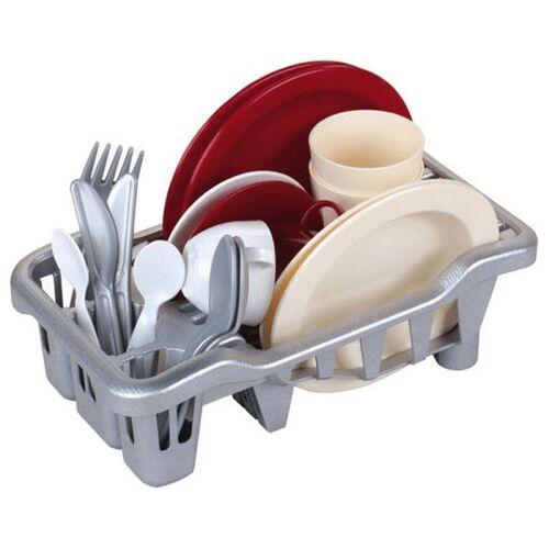 Klein afwasrekje met servies en bestek 19 delig - Rood,Wit,Grijs