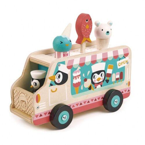 Tender Toys ijskarretje Pinguin hout junior 6 delig - Multicolor