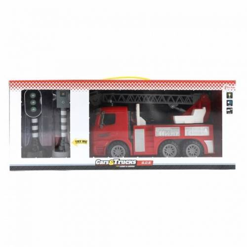 Toi-Toys Toi Toys brandweerwagen met verkeerslichten rood 49 cm - Rood
