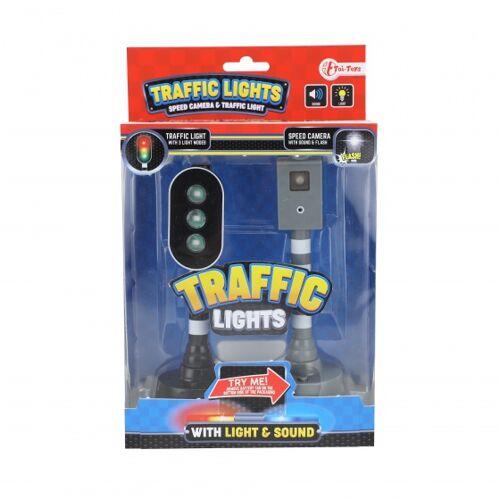 Toi-Toys Toi Toys flitspaal en verkeerslicht met licht en geluid zwart 15 cm - Zwart,Wit