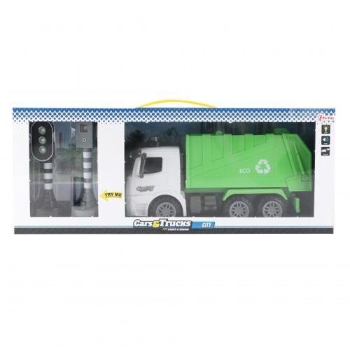 Toi-Toys Toi Toys vuilniswagen met verkeerslichten groen 58 cm - Groen