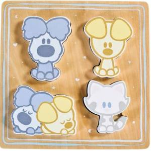 Rubo Toys vormenpuzzel Woezel & Pip hout junior 4 stukjes - Bruin,Blauw,Grijs