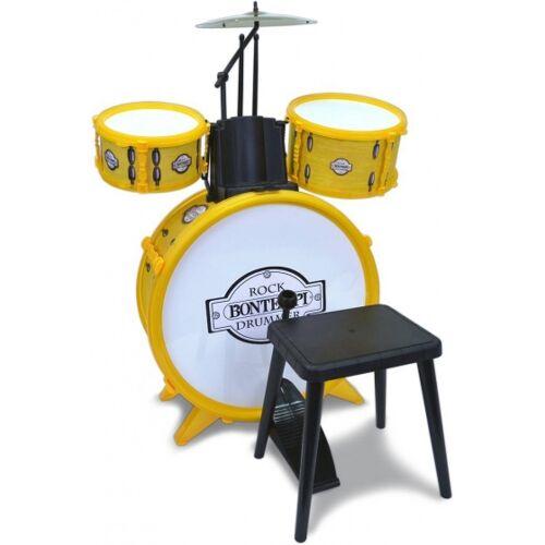 Bontempi drumstel RockDrummer 4 delig geel - Geel