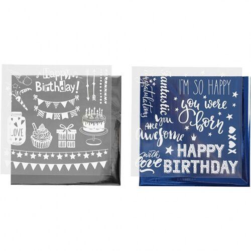 Creotime decoratiefolie en transfervel blauw/zilver 15x15 cm - Donkerblauw,Zilver,Wit
