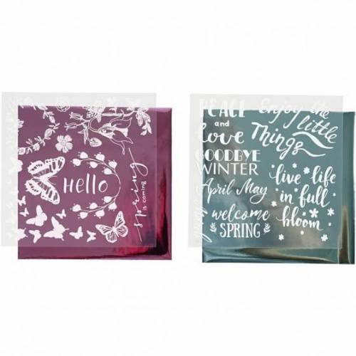 Creotime decoratiefolie en transfervel lichtblauw/roze voorjaar 15x15 cm - Lichtblauw,Roze,Wit