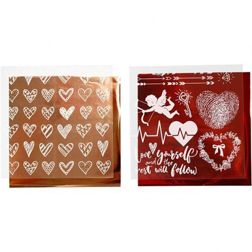 Creotime decoratiefolie en transfervel roségoud/rood 15 x 15 cm - Roze,Goud,Rood,Wit
