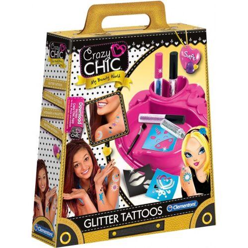 Clementoni maak je eigen glittertatoeages set - Roze,Blauw