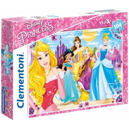Clementoni maxi supercolor legpuzzel Disney Princess 104 stukjes - Multicolor