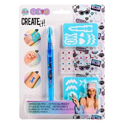 Create It! tatoeagestift junior 20 cm gel blauw - Blauw