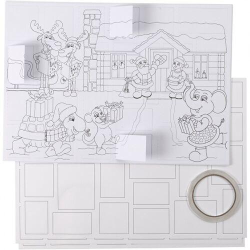 Creotime maak je eigen kerstkalender 30 x 42 cm 5 stuks - Wit