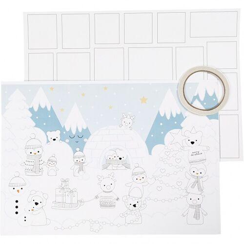 Creotime maak je eigen kerstkalender 30x42 cm 3 stuks - Wit