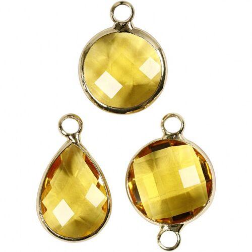 Creotime sieradenhangers 15 20 mm rond 6 stuks geel - Geel