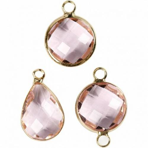 Creotime sieradenhangers 15 20 mm rond 6 stuks roze - Roze