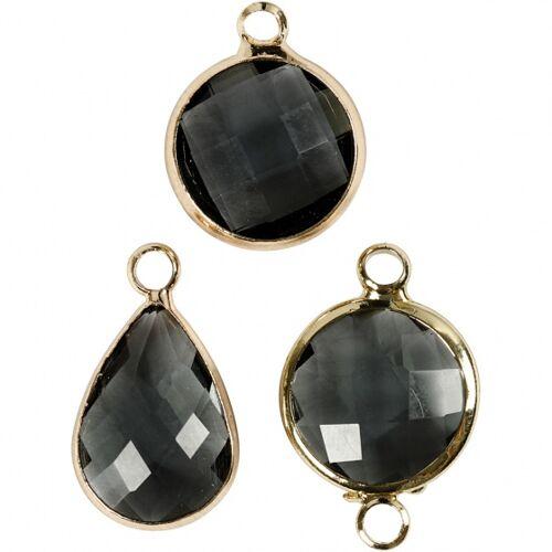 Creotime sieradenhangers 15 20 mm rond 6 stuks zwart - Zwart