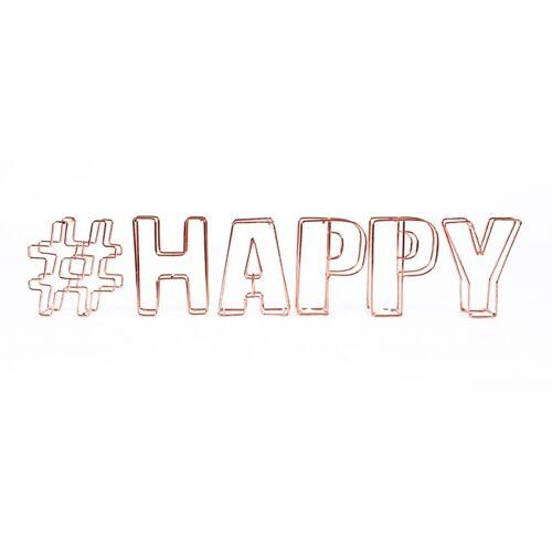 Dresz decoratie draadletters 3D #happy - Brons