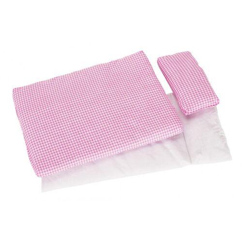 Goki beddengoed Roos voor poppenbed dekbed + kussen - Roze,Wit