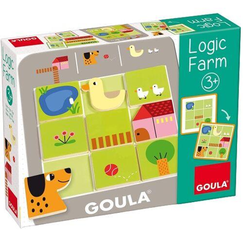 Goula vormenpuzzel Logic Farm junior hout 9 stukjes - Multicolor