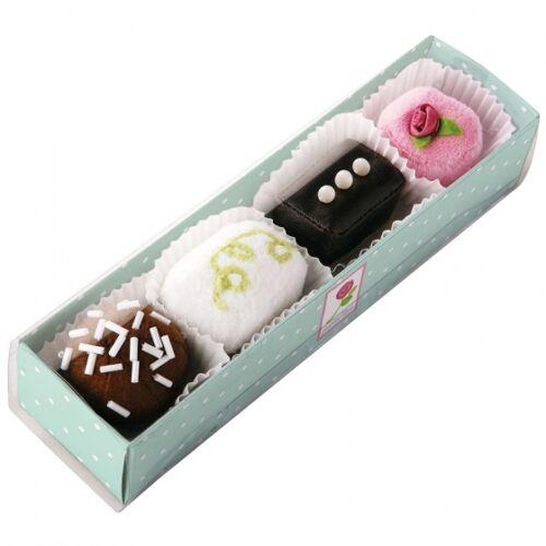Haba gebakjes zwart/wit/roze 4 stuks 4 x 4 cm - Zwart,Wit,Roze