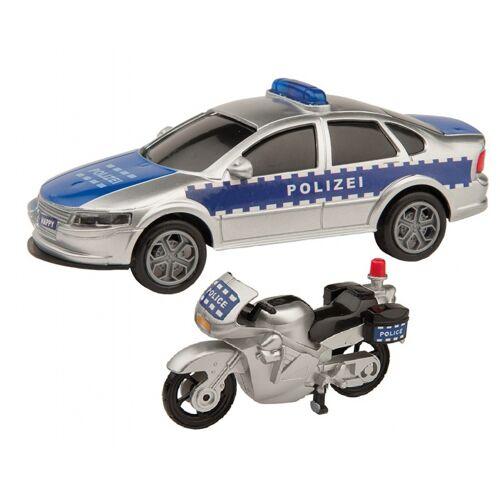 Happy People politievoertuigen met accessoires 6 delig - Zilver,Blauw
