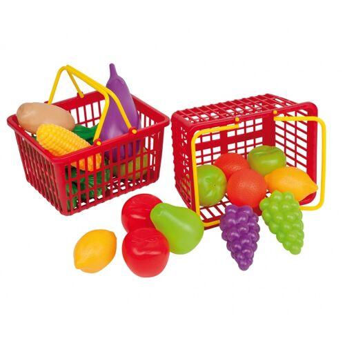 Happy People winkelmandje 15 cm 11 delig groente en fruit - Rood