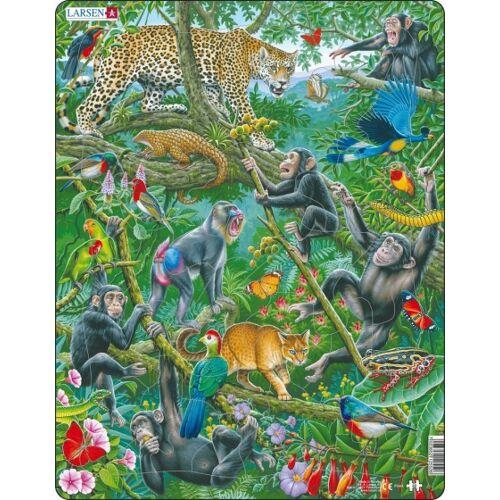 Larsen legpuzzel Maxi Afrikaans regenwoud junior 32 stukjes - Multicolor