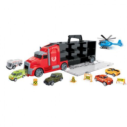 Luna autotransporter City 42 cm zwart/rood 16 delig - Zwart,Rood