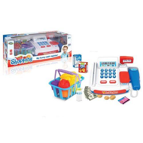 Luna speelgoedkassa met boodschappen en winkelmand 22 cm blauw - Multicolor
