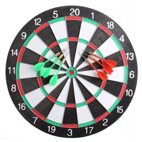 Master Darts dartbord 40,5 cm met 6 pijlen - Multicolor