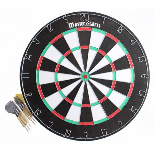Master Darts dartbord 45 cm met 6 pijlen - Multicolor