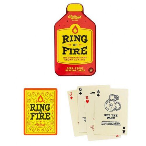 Ridley's Games drinkkaartspel Ring Of Fire 13 x 7 cm PVC rood/geel - Rood,Geel,Crème