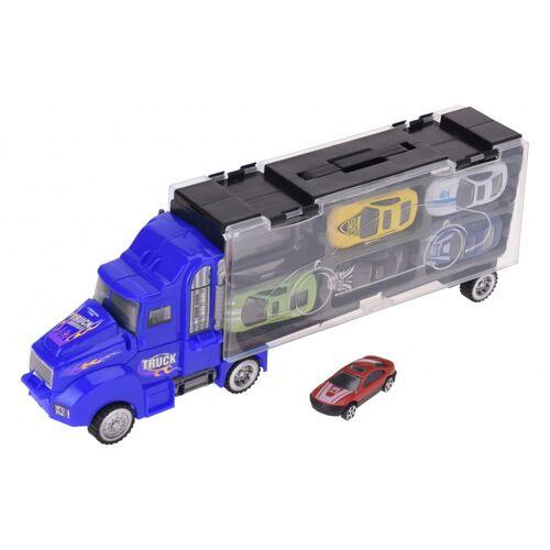 Tender Toys autotransporter blauw 33 cm - Blauw